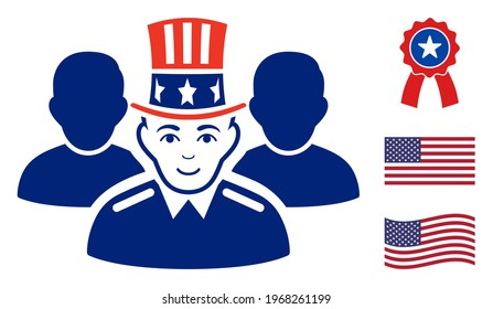 Uncle Sam team icon in blue and red colors with stars. Uncle Sam team illustration style uses American official colors of Democratic and Republican political parties, and star shapes.