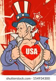 Uncle Sam - USA Love - Vector Portrait