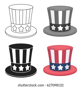 Uncle Sam's hat icon in cartoon style isolated on white background. Patriot day symbol stock vector illustration.