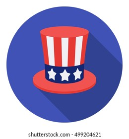 Uncle Sam's hat icon in flat style isolated on white background. Patriot day symbol stock vector illustration.