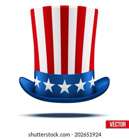 Uncle Sam's hat. Symbol of freedom and liberty. Vector Illustration Isolated on white background.