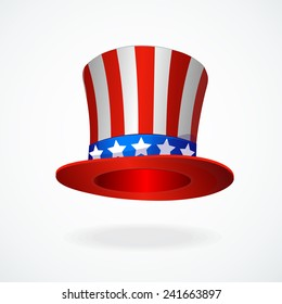 Uncle Sam's hat vector. 4 of July celebration icon .