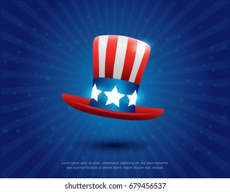 Uncle Sam's hat vector. 4 of July celebration icon. happy independence day banner template design. usa or american hat symbol with stars on blue background