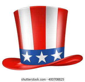 Uncle Sam's hat. Vector illustration. Three quarters view.