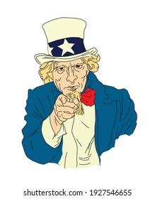Uncle Sam's illustration, color vector illustration