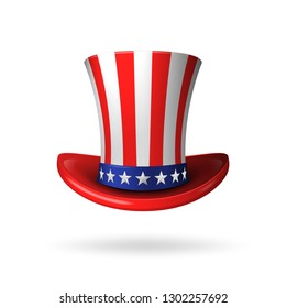 Uncle Sam's Realistic American Hat. Vector illustration.