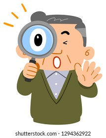 Uncle of the upper body of a middle-aged man is surprised at peering into the magnifying glass