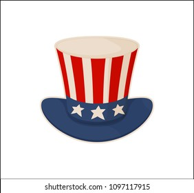 Uncle`s Sam hat pattern isolated on white backdrop, vector illustration of cap national american symbolism, patriotic wear with stars and stripes