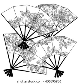 Uncoloured Oriental fans decorated with floral patterns for adult  coloring book.  Black and white. Uncolored Vector illustration. The best for your design, textiles, posters, adult coloring book