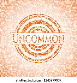 Uncommon abstract orange mosaic emblem with background