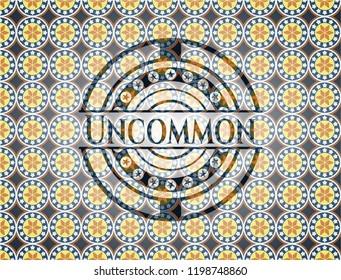 Uncommon arabic emblem background. Arabesque decoration.