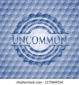 Uncommon blue polygonal emblem.