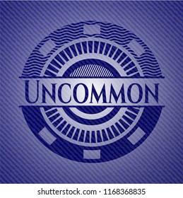 Uncommon emblem with denim texture