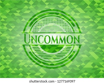 Uncommon green emblem with triangle mosaic background