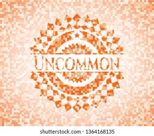 Uncommon orange tile background illustration. Square geometric mosaic seamless pattern with emblem inside.