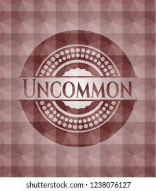 Uncommon red seamless badge with geometric background.