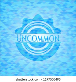Uncommon sky blue emblem. Mosaic background