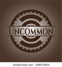 Uncommon wooden emblem. Vector Illustration.