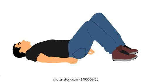 Unconscious man lying down on the ground vector. Drunk boy after party. Injured man patient after car crush accident first aid rescue. Drugged person overdose. Teenager needs doctor help emergency