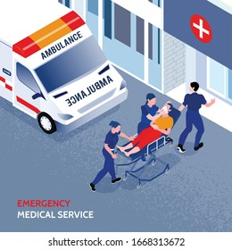 Unconscious person on cart and three ambulance men near hospital 3d isometric vector illustration