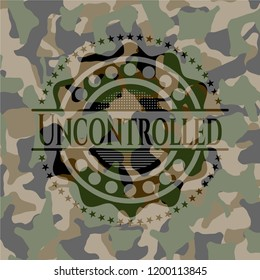 Uncontrolled on camouflage texture