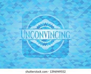 Unconvincing sky blue emblem. Mosaic background