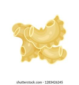 Uncooked Italian creste di galli. Curved tubular pasta with ruffled edge. Organic food. Detailed flat vector design