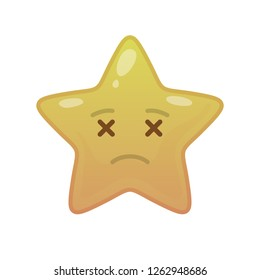 Undead star shaped comic emoticon. Departed face with facial expression. Deceased emoji symbol for internet chatting. Funny social communication animation. Mood message isolated vector element