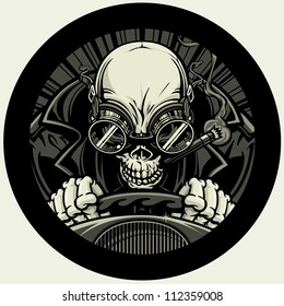 Undead Stock Car Racer. Vector illustration of a skeleton smoking a cigar while wearing a leather racing jacket and goggles. He grips the steering wheel tightly as he approaches the finish line.