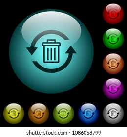 Undelete icons in color illuminated spherical glass buttons on black background. Can be used to black or dark templates