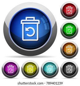 Undelete icons in round glossy buttons with steel frames