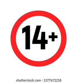 Under 14 sign warning symbol. Over 14 only censored. Eighteen age older forbidden adult content.