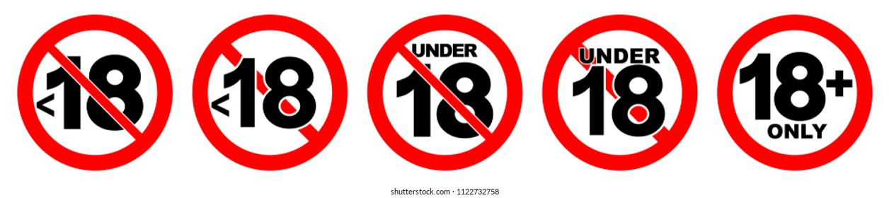 Under 18 not allowed sign. Number eighteen in red crossed circle.