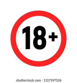 Under 18 sign warning symbol. Over 18 only censored. Eighteen age older forbidden adult content.