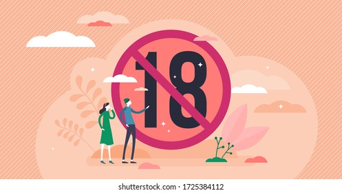 Under 18 vector illustration. Age restriction flat tiny persons concept. Eighteen plus year old control warning sign. Adult age content attention label. No children circle as limited access ban symbol