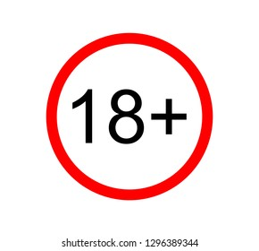 Under 18 years prohibition sign. adults only. Number eighteen in red crossed circle. symbols isolated on white background vector illustration.