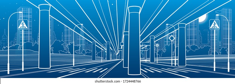 Under the car overpass. Large highway. Modern night town. Outline Urban scene. Big bridge. Industrial illustration. White lines on blue background. Vector design art