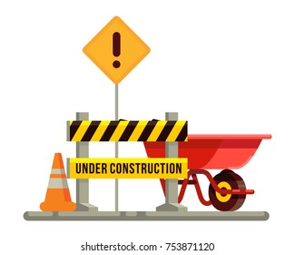 under comstruction sign with wheelbarrow and trafic cone in flat style vector illustration