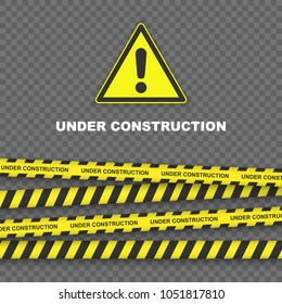 Under construction background with black and yellow striped borders vector illustration. Border stripe web, warning banner