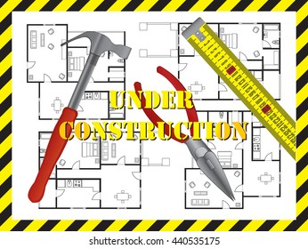 Under construction background with floor plan of a house