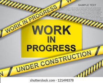 under construction background with yellow ribbons