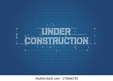Under construction blueprint, technical drawing, scribble style