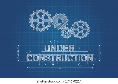 Under construction blueprint, technical drawing with gear wheel. Vector design.