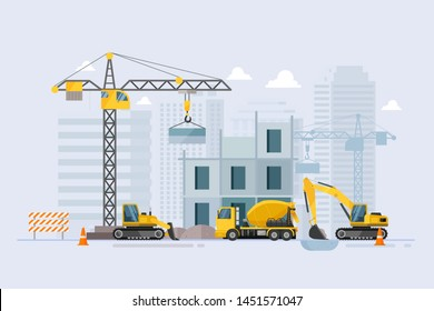 Under construction Building work process with construction machines. Vector illustration