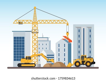Under construction Building work process with construction machines. Process of construction of big building dormitory area. Vector illustration.