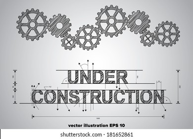 Under construction concept, sketched drawing with gear wheels.