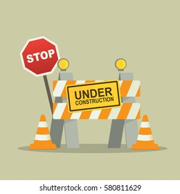 Under Construction Concept with stop sign. flat design vector illustration