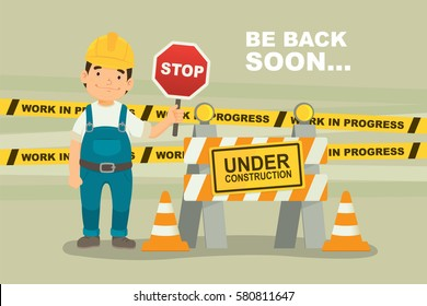 Under Construction Concept with worker hold stop sign. flat design vector illustration