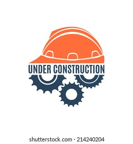 Under construction conceptual logo. Perfect for your presentations, background, brochures and banners. Vector illustration