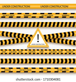 Under construction danger tapes. Seamless constructions  stop tape lines (do not cross) set, yellow vector security restricted ribbons template pattern, caution, warning about danger, risk, hazard
